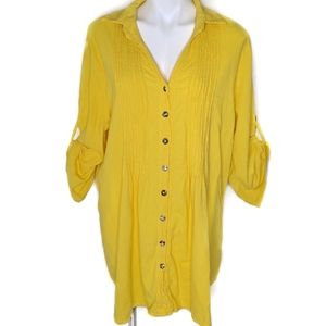 Soft Surroundings | Roll Tab Sleeve Yellow Tunic